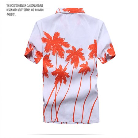 Men Quick-drying Fashion Short Sleeve Cool Printed Casual Shirt Coconut orange M - image 5 of 7