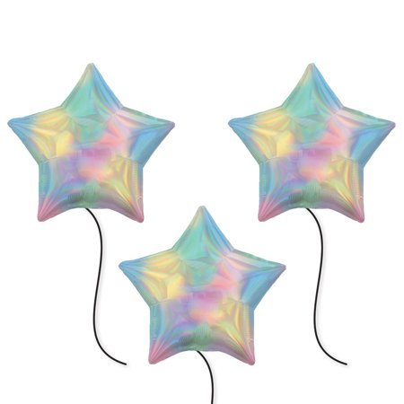 Iridescent Pastel Rainbow Star Party Supplies 19