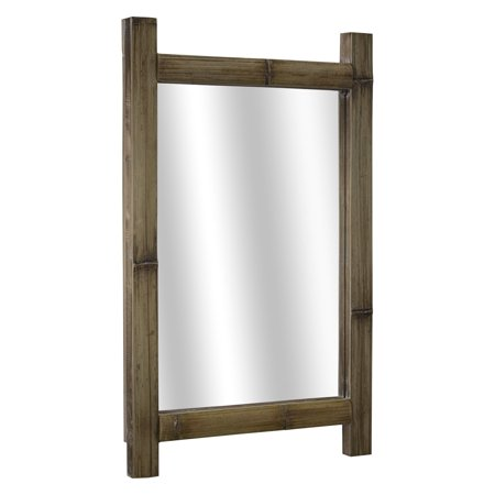 American Art Decor Rustic Bamboo Wood Hanging Wall Vanity Mirror - Brown - A/N ()