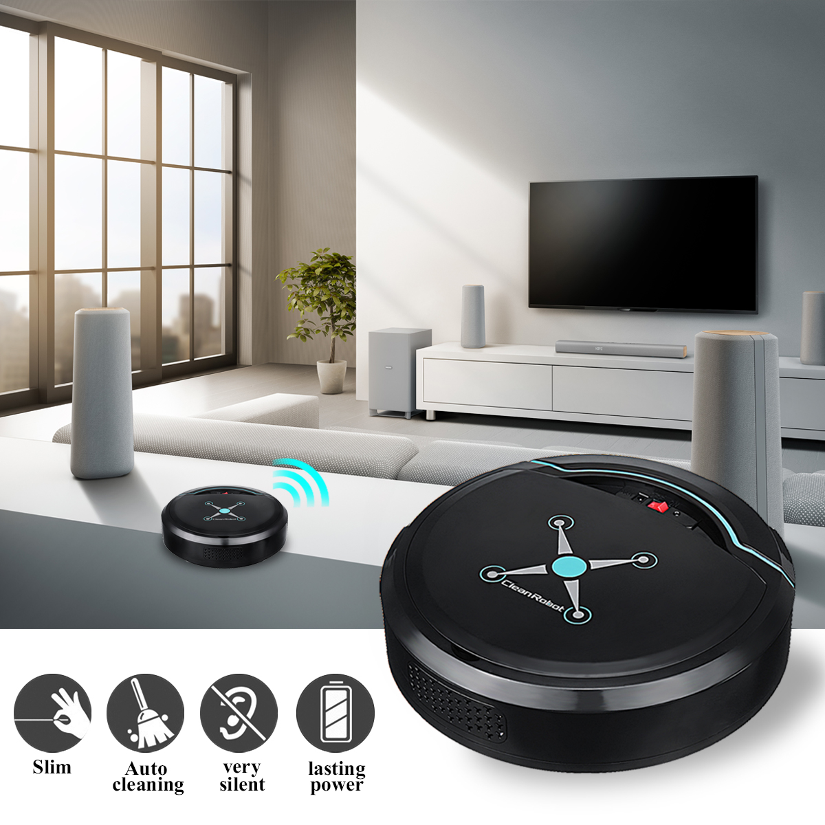 Home/Office Automatic Rechargeable Smart Robotic Robot Vacuum Cleaner,Auto Floor Sweeping Sweeper Machine,Pet Hair Dust Cleaning