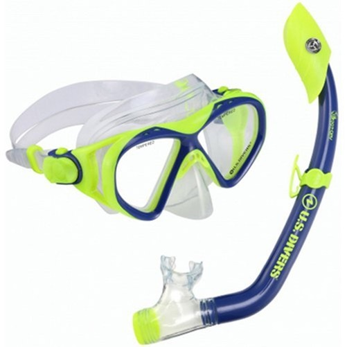 Buzz Island Snorkel Set, Junior Blue Neon