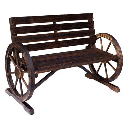 Outsunny Rustic Wood Outdoor Wagon Wheel Garden Bench ()