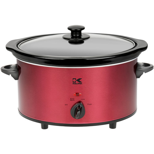 Kalorik 3.7-Quart Slow Cooker, Red and Stainless Steel