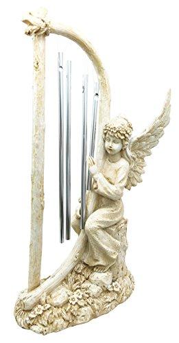 Beautiful Heavenly Seraphim Cherubim Angel Playing Harp Resonant Wind Chime  Figurine Tabletop Decor