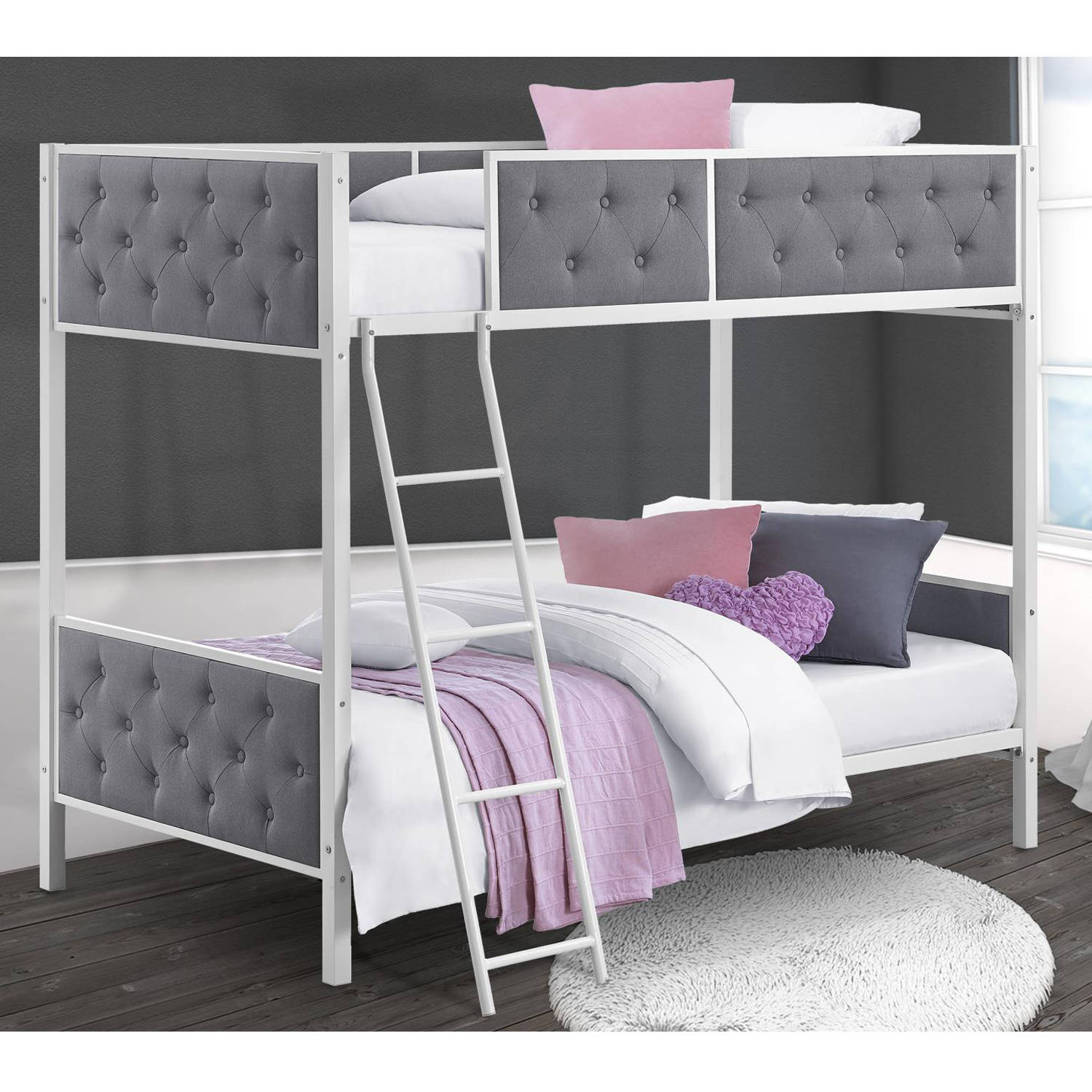 Chesterfield Upholstered Twin Over Twin Metal Bunk Bed, White Metal with Grey