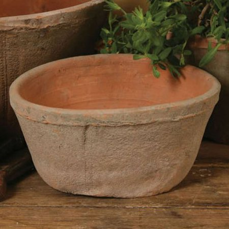 HomArt Rustic Terra Cotta Oval Pot, Small, Antique Red, 1-Count ()