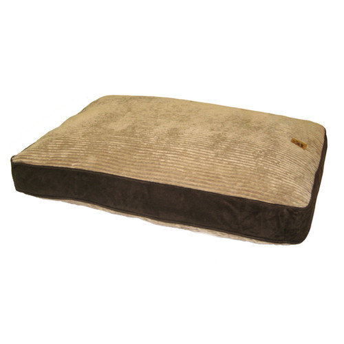 Precision Pet Products Gusset Suede Pillow Dog Bed in Beige / Chocolate