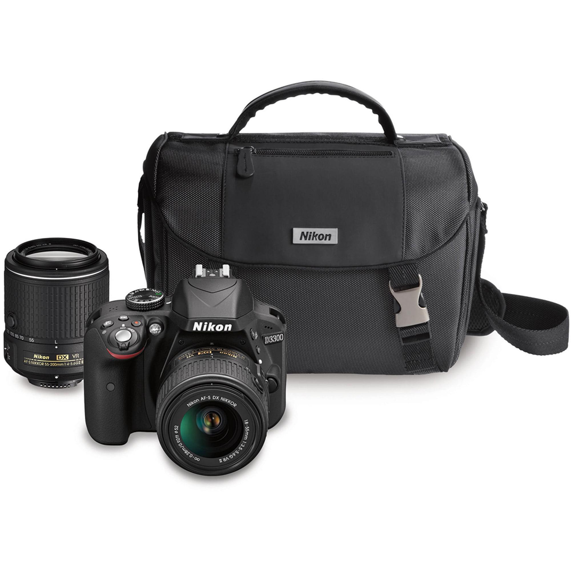 Nikon Black D3300 DX Digital SLR Camera with 24.2 Megapixels and 18-55mm and 55-200mm Lenses Included