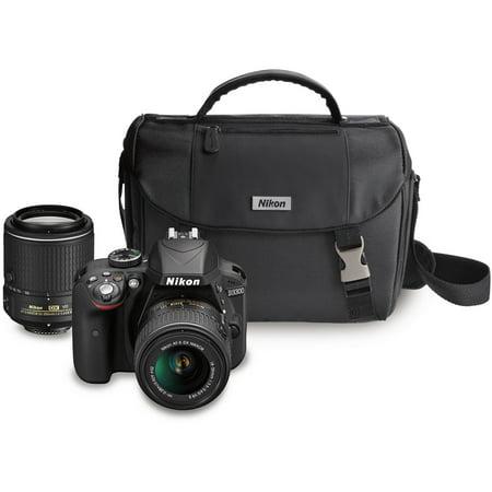 Buy Nikon Black D3300 DX Digital SLR Camera with 24.2 Megapixels and 18-55mm and 55-200mm Lenses...