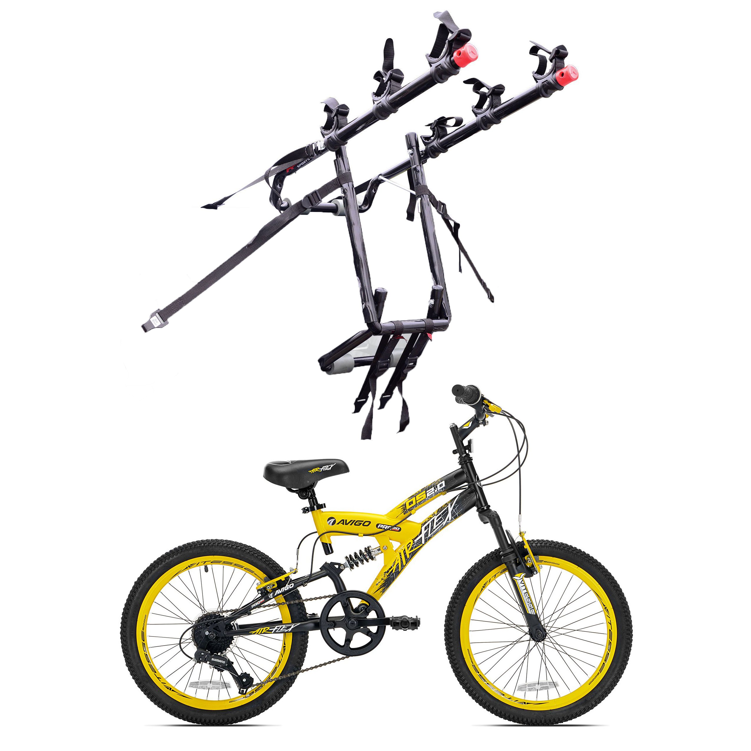 Kent Bikes Avigo Air Flex Steel 20 Inch Boys BMX Bike & 3 Bike Car Trunk Rack by Kent Bikes