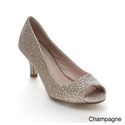 Awesome Womens Dress Shoes Rhinestone Embellishments Cutout Platform Champagne