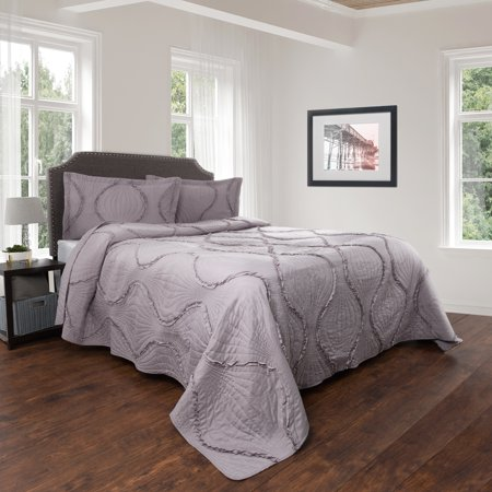 Quilt and Sham Set- Hypoallergenic 2 Piece Oversized Twin Quilt Bed Set with Curved Ruffle Design- Charlize Series By Lavish Home (Silver) ()