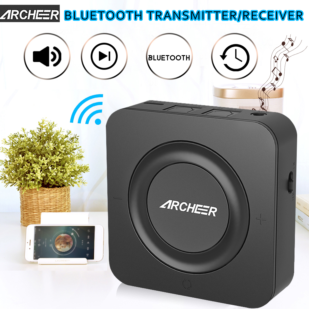 ARCHEER 2 in 1 bluetooth Transmitter Receiver, Digital Optical TOSLINK (SPDIF), Pair 2 At Once, Aptx Low Latency, 3.5mm (AUX and RCA) Wireless Audio Adapter for TV