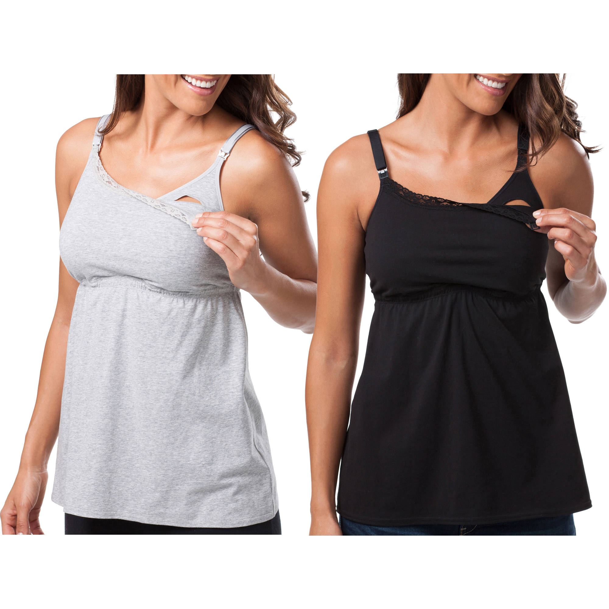 Loving Moments by Leading Lady Maternity Babydoll Nursing Tank, 2-Pack