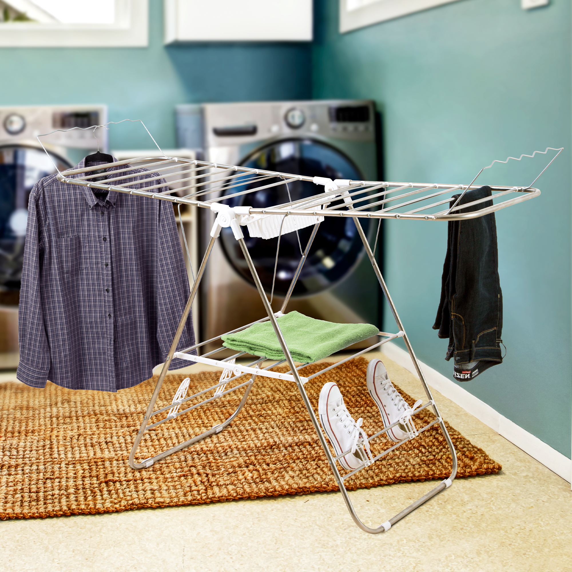 Heavy Duty Laundry Drying Rack- Chrome Steel Clothing Shelf for Indoor and Outdoor Use Best Used for Shirts Pants Towels Shoes by Everyday Home