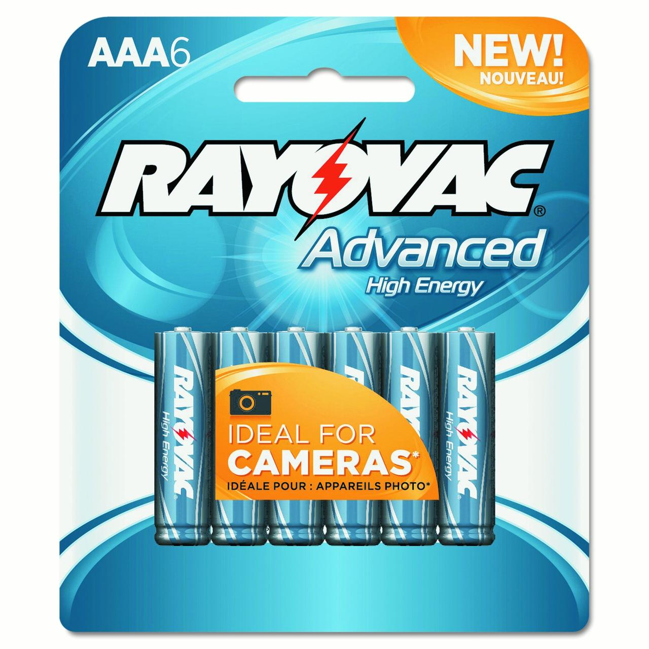 Rayovac Alkaline High Energy Batteries, AAA, 6Ct