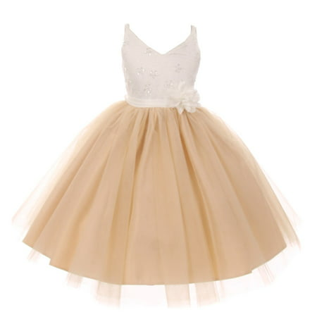 Rain Kids Little Girls Champagne Beaded Lace V-neck Special Occasion Dress](Little Girls Special Occasion Dress)