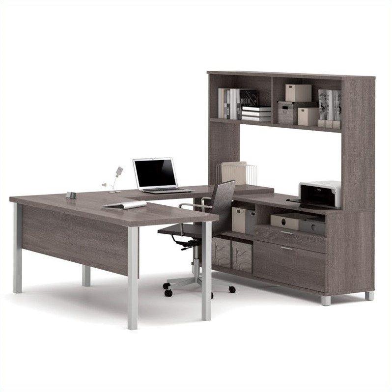 Bestar Pro-Linea U-Desk with Hutch, Bark Grey