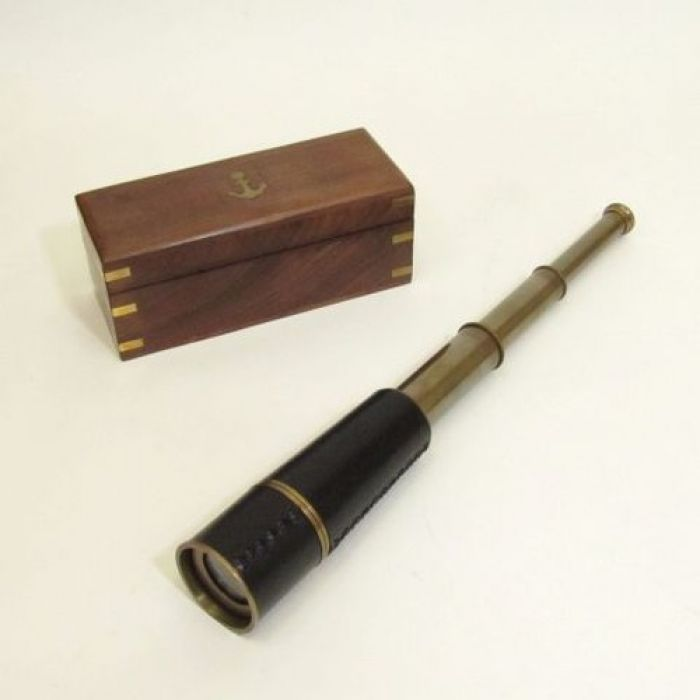 India Overseas Trading BR48502A - Antique Brass Pullout Telescope, Wood Box
