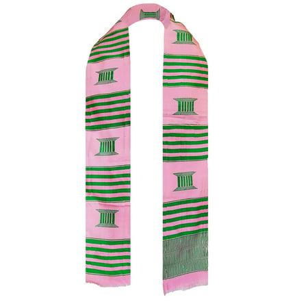 Pink and Green AKA Kente Cloth Stole / Sash. Alpha Kappa Alpha Graduation - Stoles Graduation
