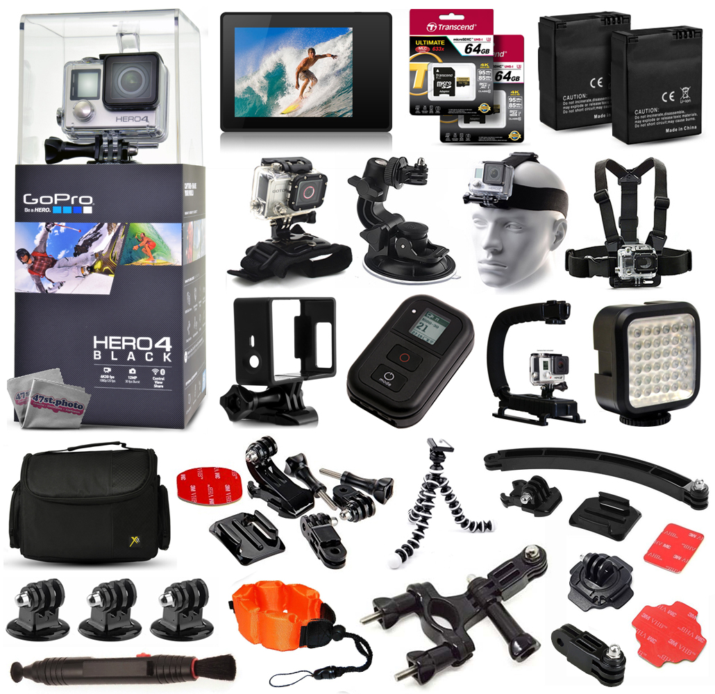 Buy GoPro Hero 4 HERO4 Black Edition CHDHX-401 with LCD Display + 128GB Memory + 2 Batteries + Skeleton Housing + X-Grip +... by GoPro
