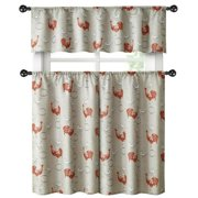 Country Farmhouse Red Rooster Barn 3 Pc. Kitchen Curtain Tier & Valance Set
