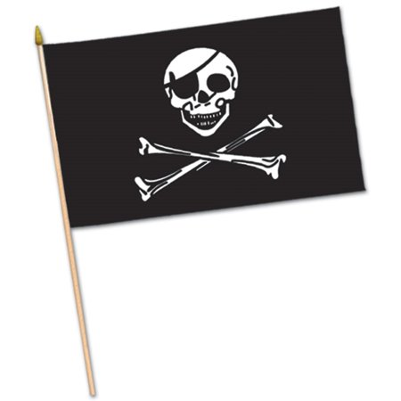 Club Pack of 12 Black and White Crossbones Pirate Flag Food, Drink or Decoration Party Picks 4