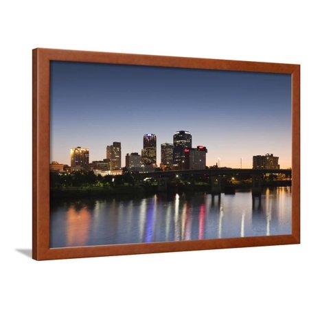 City Skyline from the Arkansas River, Dusk, Little Rock, Arkansas, USA Framed Print Wall Art By Walter Bibikow - Party City Arkansas