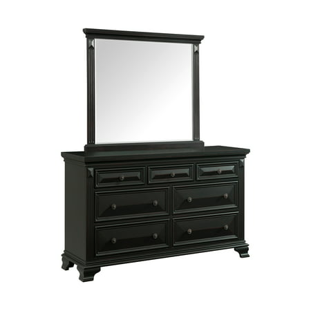 Picket House Furnishings Trent 7-Drawer Dresser w/ Mirror Set in Antique Black Antique Black Bombe Chest