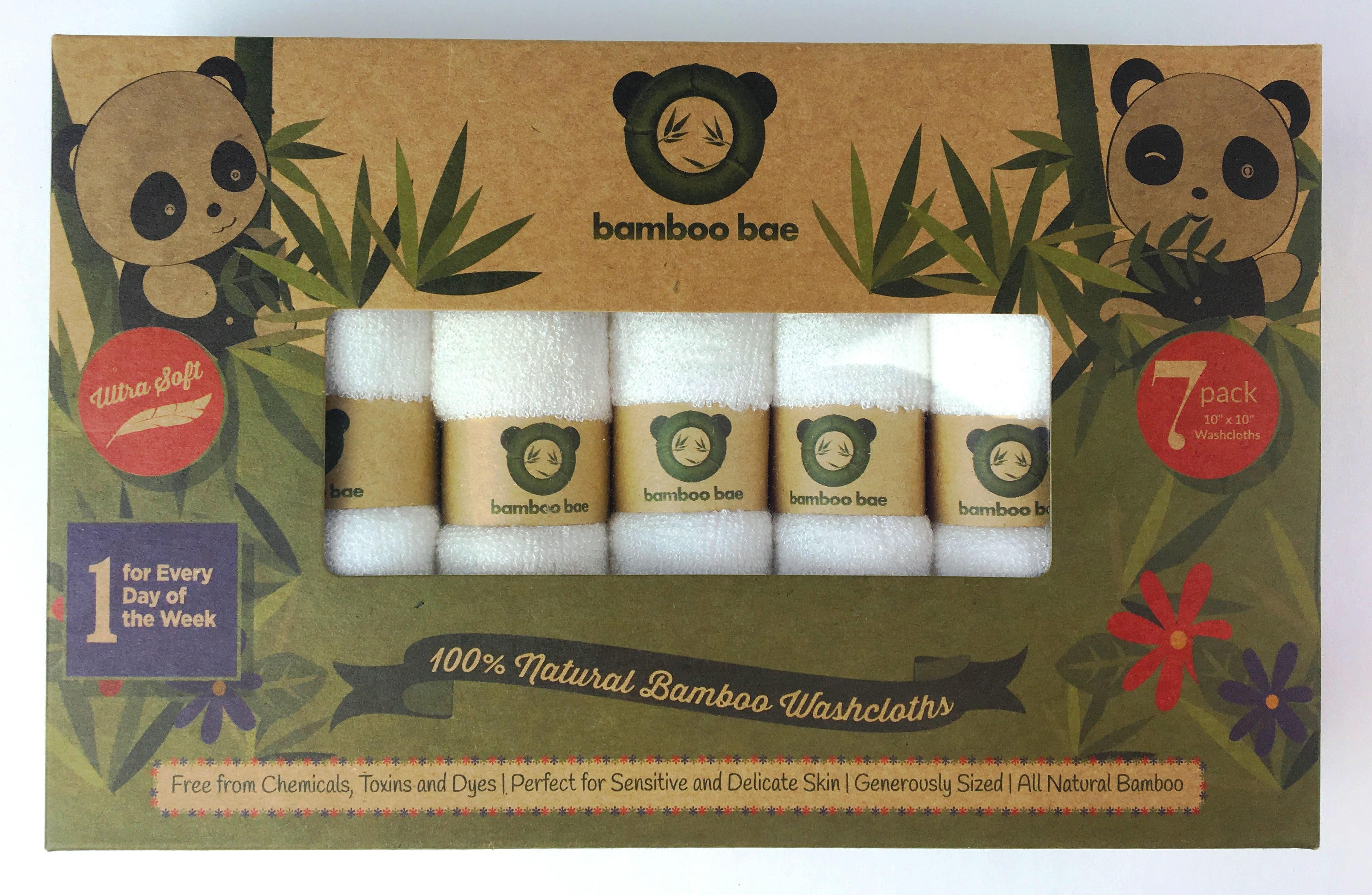 Bamboo Bae 7 SUPER SOFT Baby Bath Washcloths, 100% Natural Bamboo Towels, No-Dyes, Perfect for Sensitive Baby... by Bamboo Bae