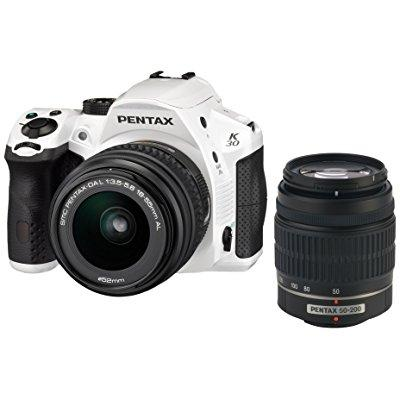 Pentax K-30 Weather-Sealed 16MP CMOS Digital SLR Dual Lens Kit, 18-55mm and 50-200mm (White) (OLD MODEL) by Pentax