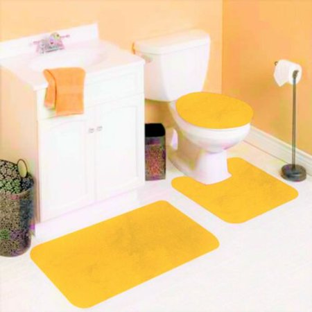 6 3 Piece Yellow Solid Non Slip Bathroom Rug Set 1 Contour Mat