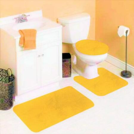6 3 Piece Yellow Solid Non Slip Bathroom Rug Set 1