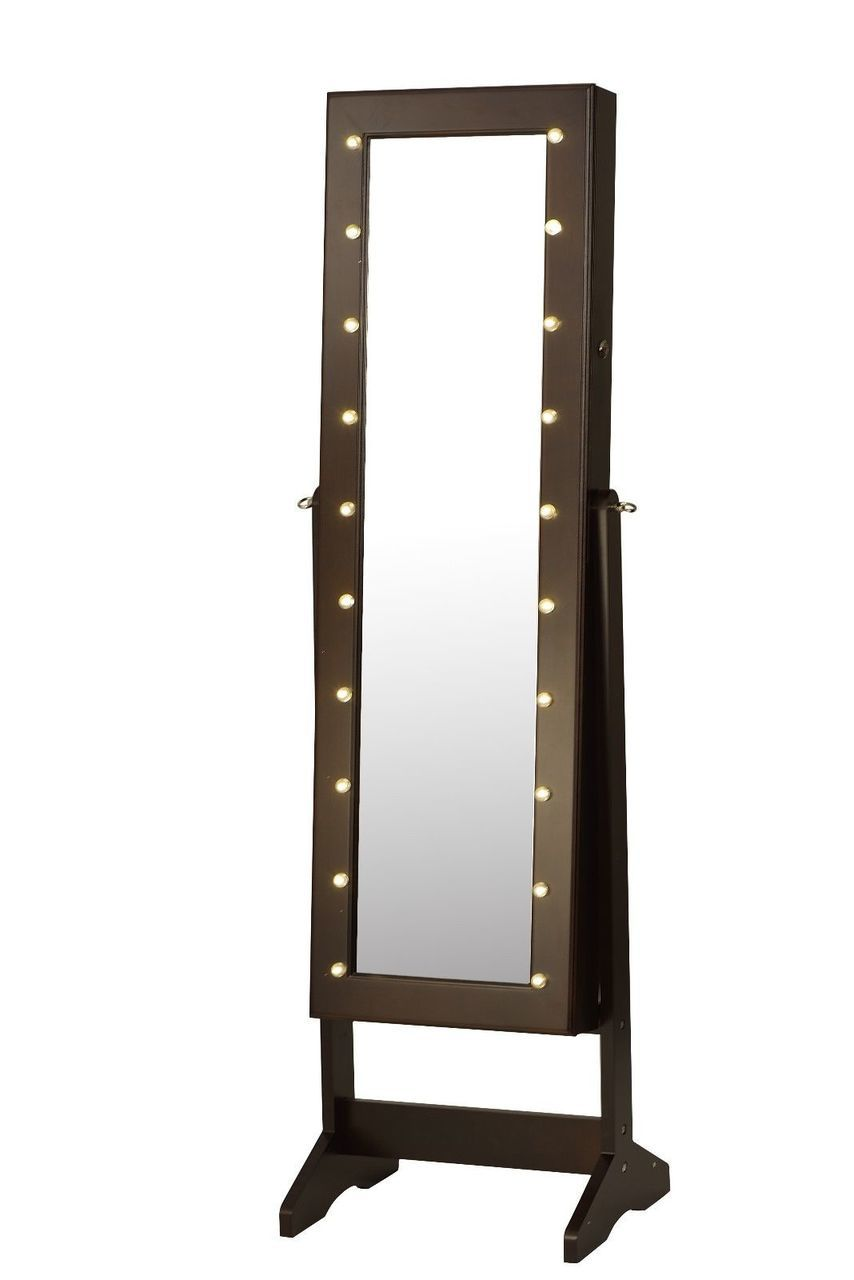 ViscoLogic Wooden Jewelry Mirror Cabinet Armoire with LED ...
