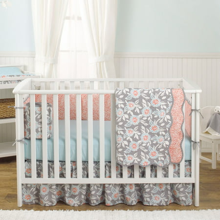 Balboa Baby 4 Piece Baby Girl Crib Bedding Set - Grey and Coral Floral Designs on 100% Cotton - Grey and Aqua -