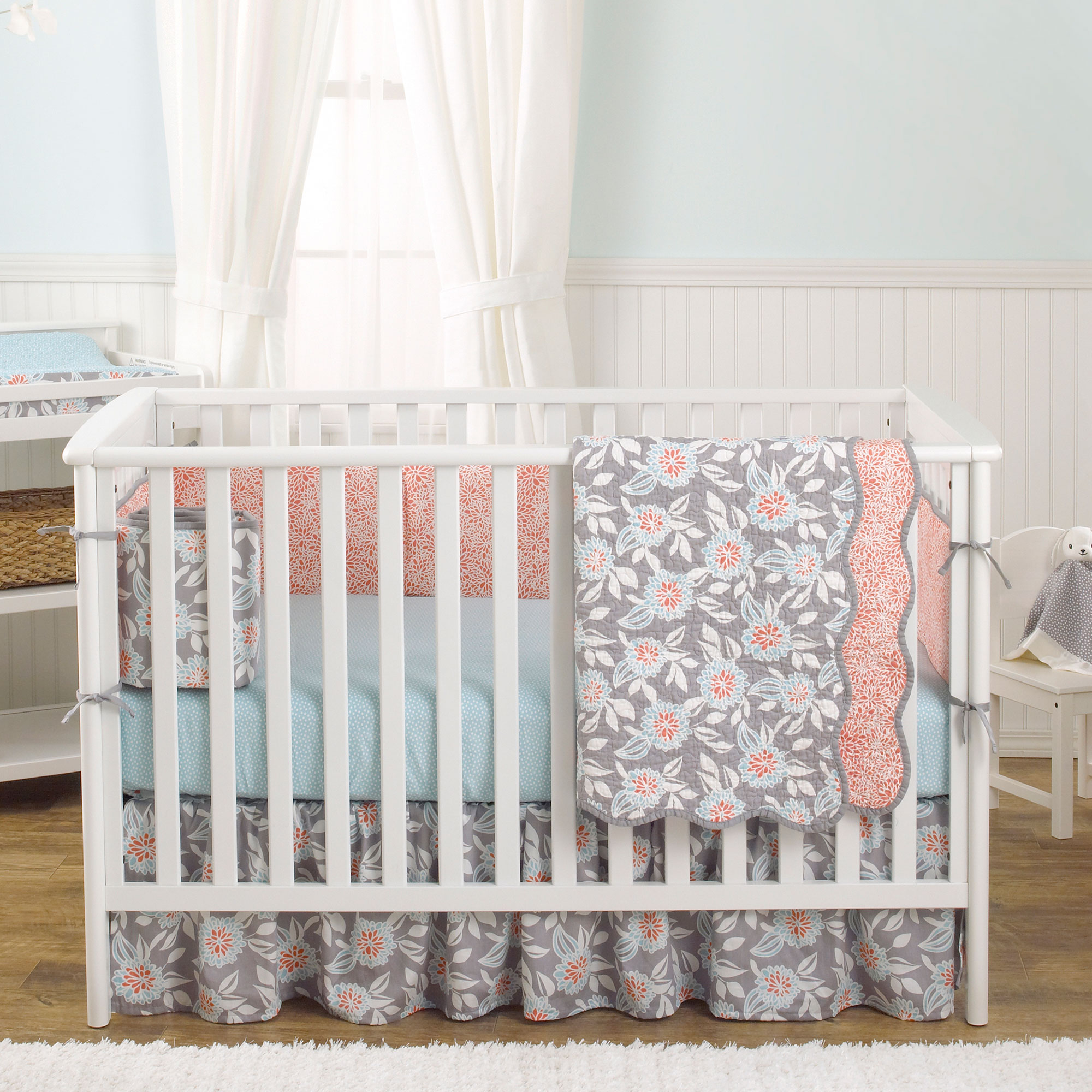 Balboa Baby 4 Piece Baby Girl Crib Bedding Set - Grey and Coral Floral Designs on 100% Cotton - Grey and Aqua Dahlia