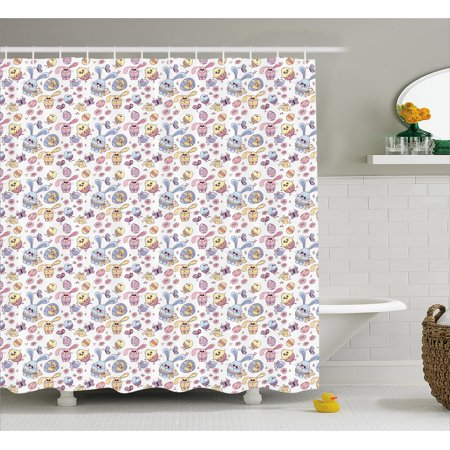 Easter Shower Curtain, Cheerful Kids Pattern with Funny Bunny and Chicken Characters Flowers Butterflies, Fabric Bathroom Set with Hooks, 69W X 70L Inches, Multicolor, by Ambesonne