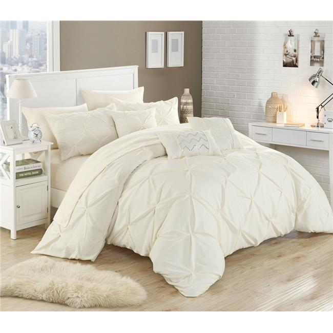 Chic Home CS4740-US Zita Pinch Pleated, Ruffled & Pleated Complete Bed in a Bag Comforter Set with Sheets - White - Queen - 10 Piece