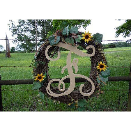 Wooden Letter Vine (F) Unfinished Wood Craft Letter, Paintable Wall Decor