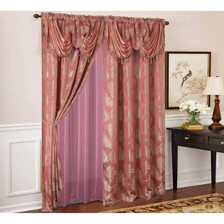 Palm Floral Textured Jacquard 54 x 84 in. Single Rod Pocket Curtain Panel w/ Attached 18 in. Valance in Rose Pink Floral Jacquard