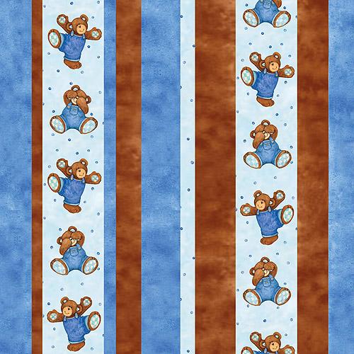 """Creative Cuts Cotton 44"""" wide, 2 yard cut fabric, Bear Print"""