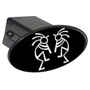 "Southwest Kokopelli Flute Players 2"" Oval Tow Trailer Hitch Cover Plug Insert"