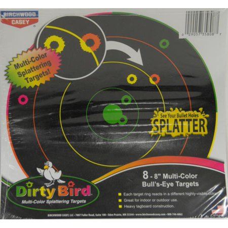 BIRCHWOOD CASEY 8 INCH MULTI COLOR DIRTY BIIRD REACTIVE TARGETS - 8 SHEET PACK