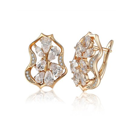 Teardrop Pear Shape Clear Marquise CZ Drop Earrings Ginger Lyne Collection