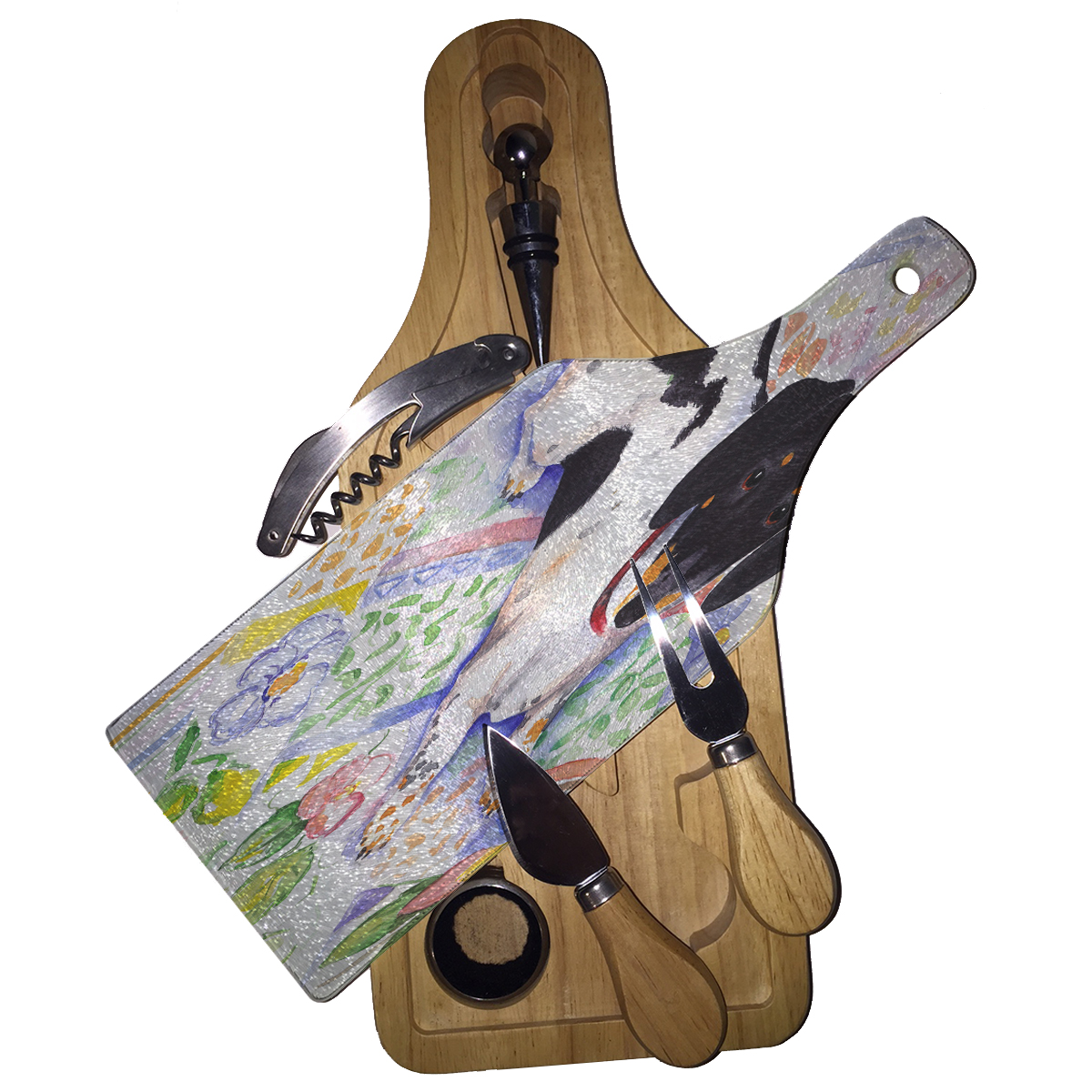 KuzmarK Wine & Cheese Glass Cutting Board Wood Box Gift S...