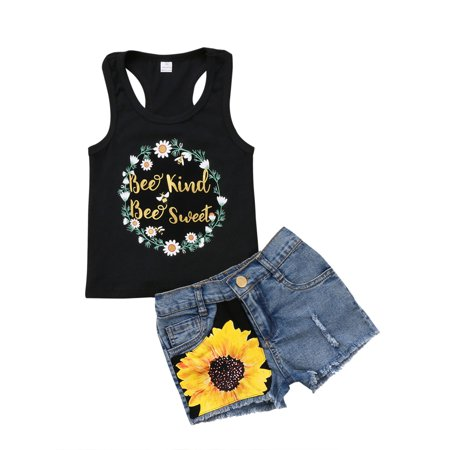 2Pcs/Set Fashion Toddler Kids Baby Girl T-Shirt Top+Floral Denim Shorts Pants Outfits
