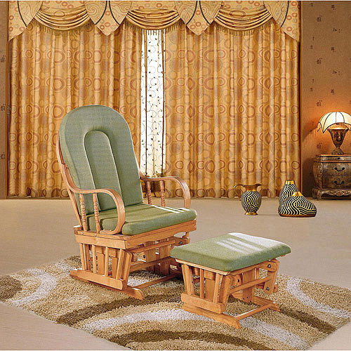 Dream on Me Colonial Glider and Matching Ottoman, Natural Finish, Choose Your Color