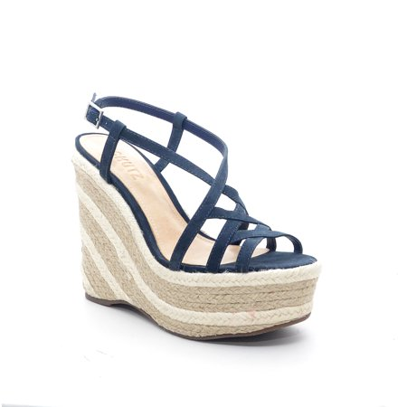 - Schutz Womens Jelle Blue Leather Platform Heeled Open-Toe Ankle Buckle Sandals
