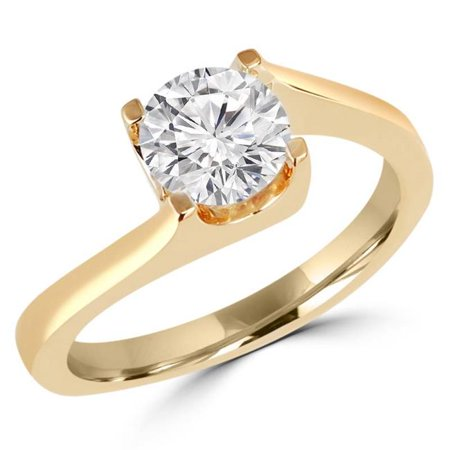 0.5 Ct Solitaire Ring (0.5 CT Round Diamond Solitaire Bypass Engagement Ring in 14K Yellow Gold, Size)