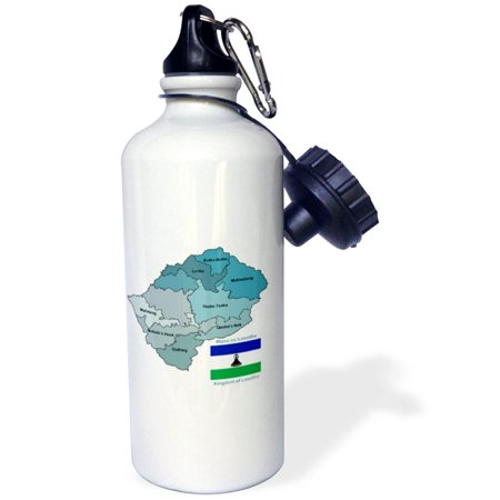 3dRose Political map and flag of Lesotho with all the provinces identified by name, Sports Water Bottle, 21oz